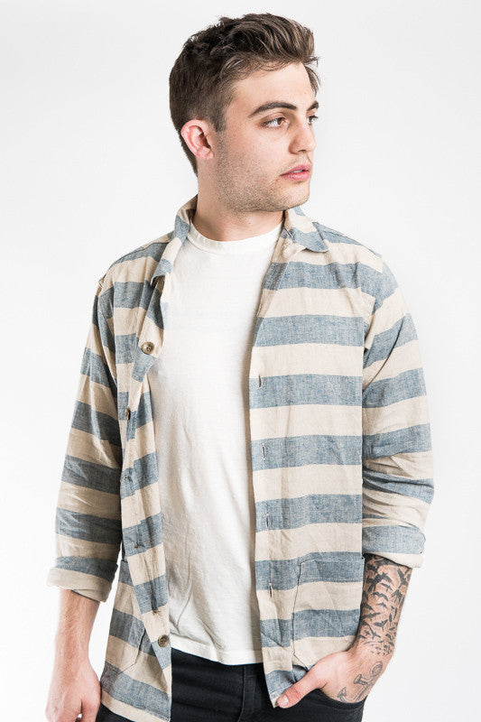 Prison Shirt - Stone & Navy Stripe