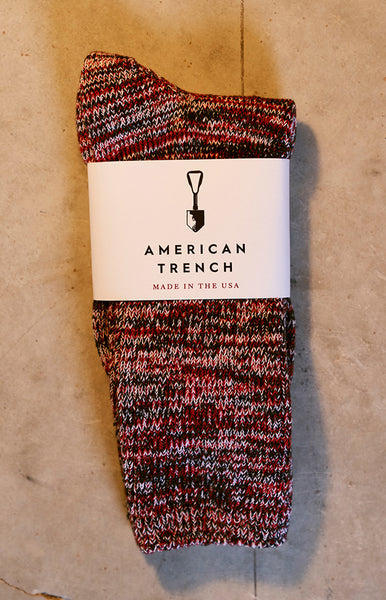 American Trench Crimson Random Plait Socks