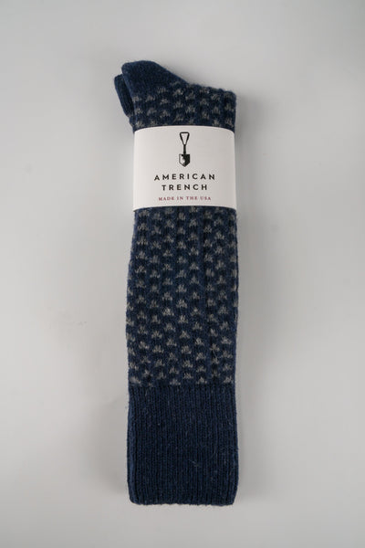 American Trench Navy Pyramid Sock in Merino Cashmere