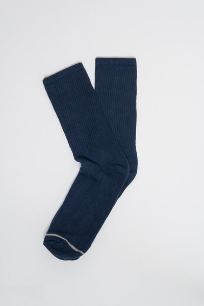 American Trench Navy Silver Crew Sock
