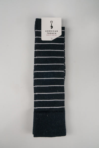 American Trench Navy White Pima Cotton Nautical Stripe Sock