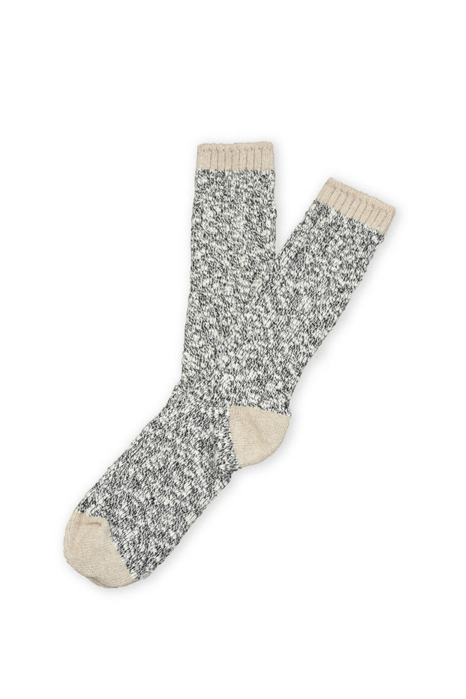 American Slub Sock - Navy Slub with Tan