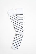 Mercerized Pima Cotton Sock - White & Blue
