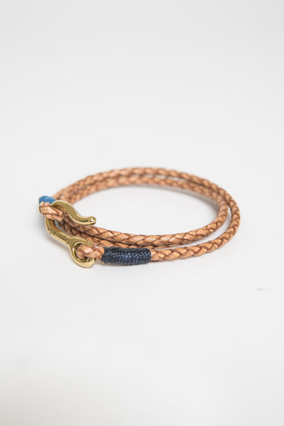 Caputo & Co Triple Leather Wrap Bracelet Natural