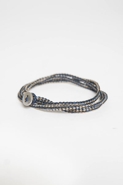 Caputo & Co Macrame Knotted Tripe Wrap Bracelet Black