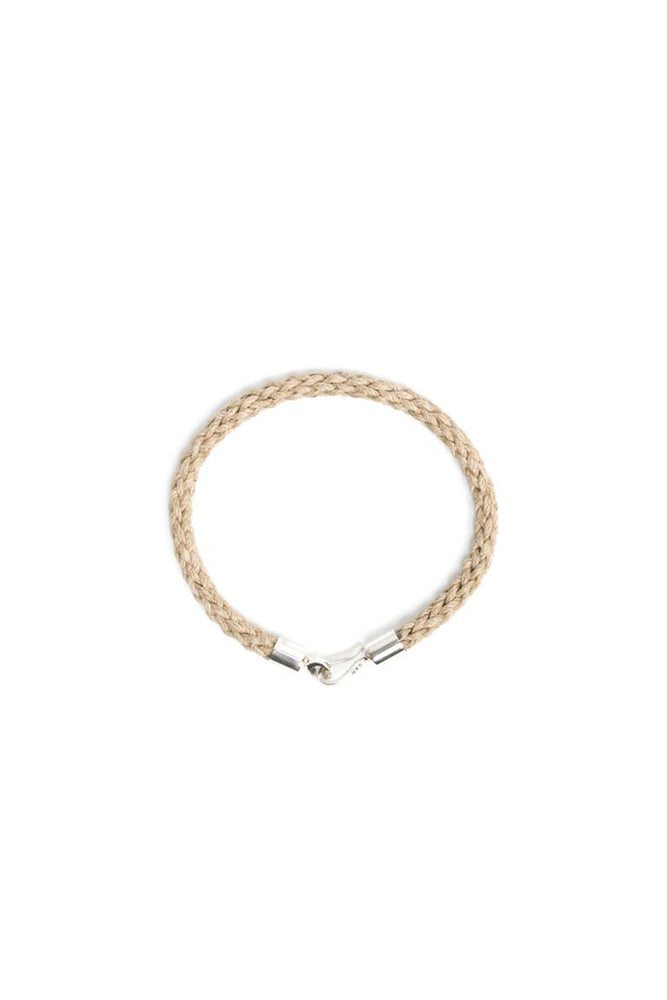 Waxed Jute with Silver Hook Bracelet - Natural