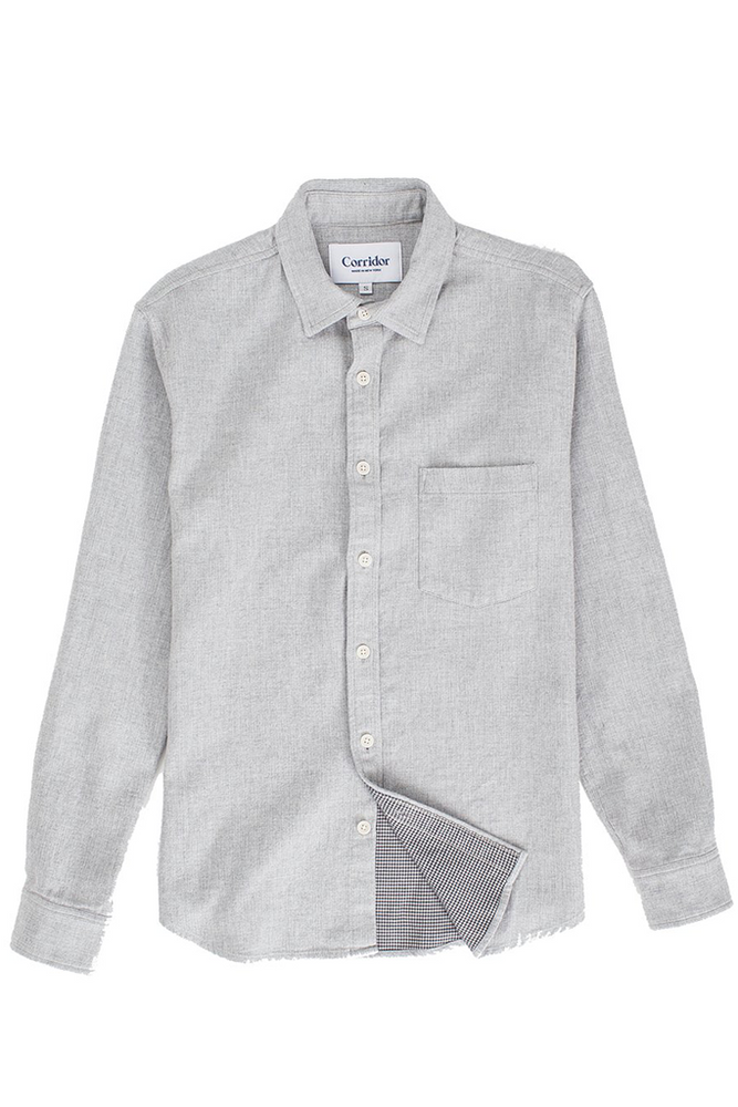Corridor NYC Heathered Herringbone Button Down Shirt