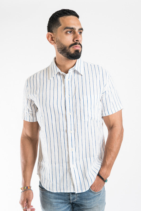 Wavy Navy Stripe Shirt