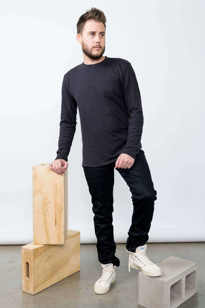 Jungmaven Black Baja Hemp Long Sleeve Tee