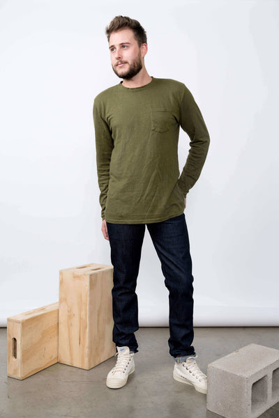 Baja Hemp Tee Long Sleeve Supply Green
