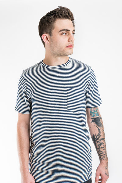 Jungmaven Yarn Dyed Pocket Tee - Blue Stripe