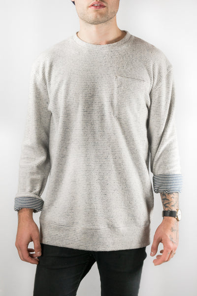 Jungmaven Blue Stripe Yarn Dyed Reverse Sweatshirt