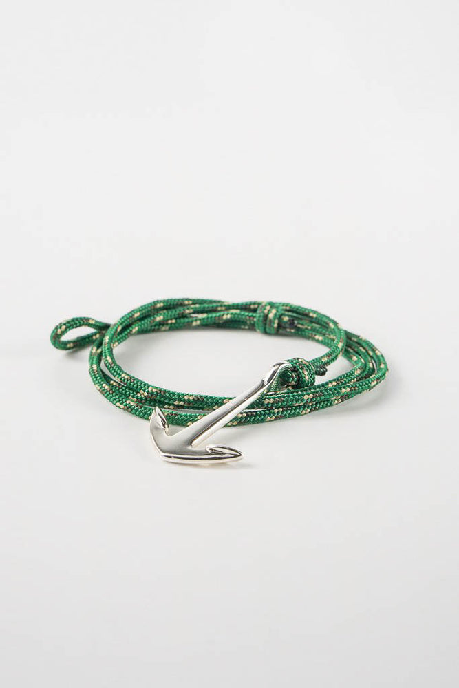 Anchor on Rope Bracelet Silver Plated - Hunter Green