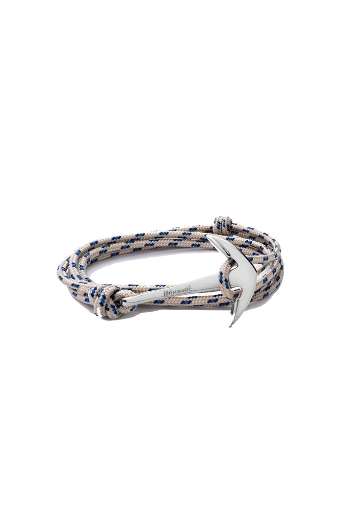 Modern Anchor on Rope Bracelet Silver Plated - Khaki