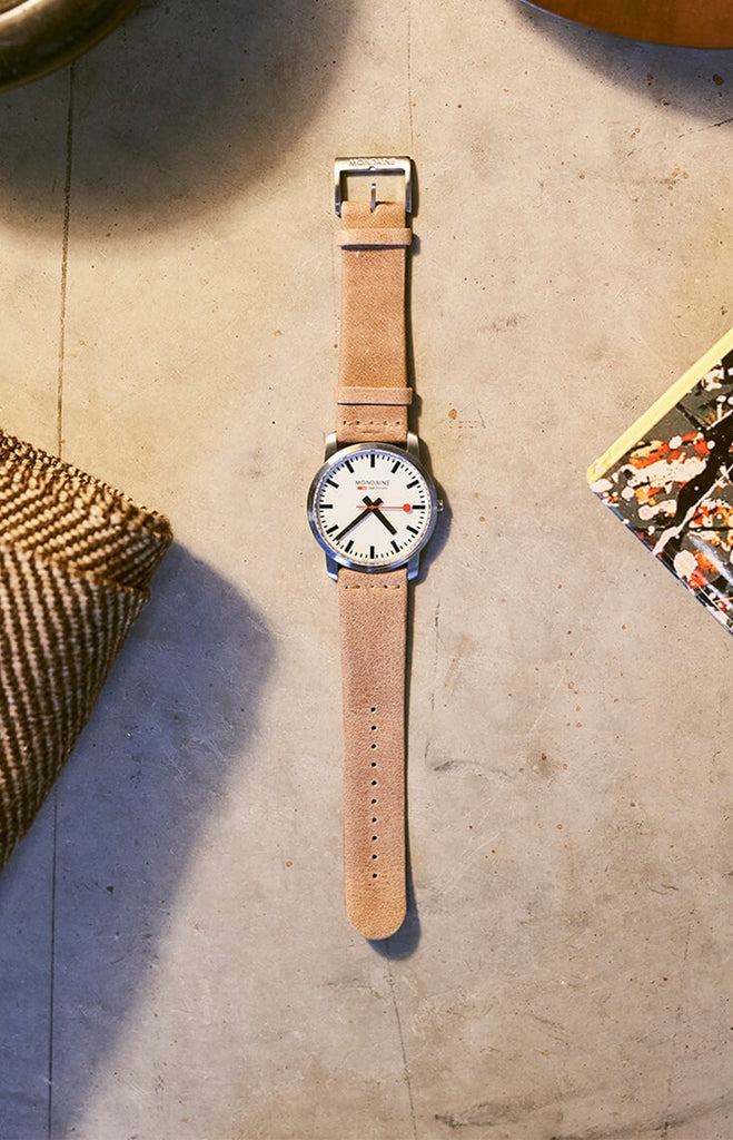 Mondaine Simple Elegant Tan Watch 41 mm