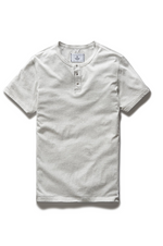 Short Sleeve Ringspun Henley - Heather Ash