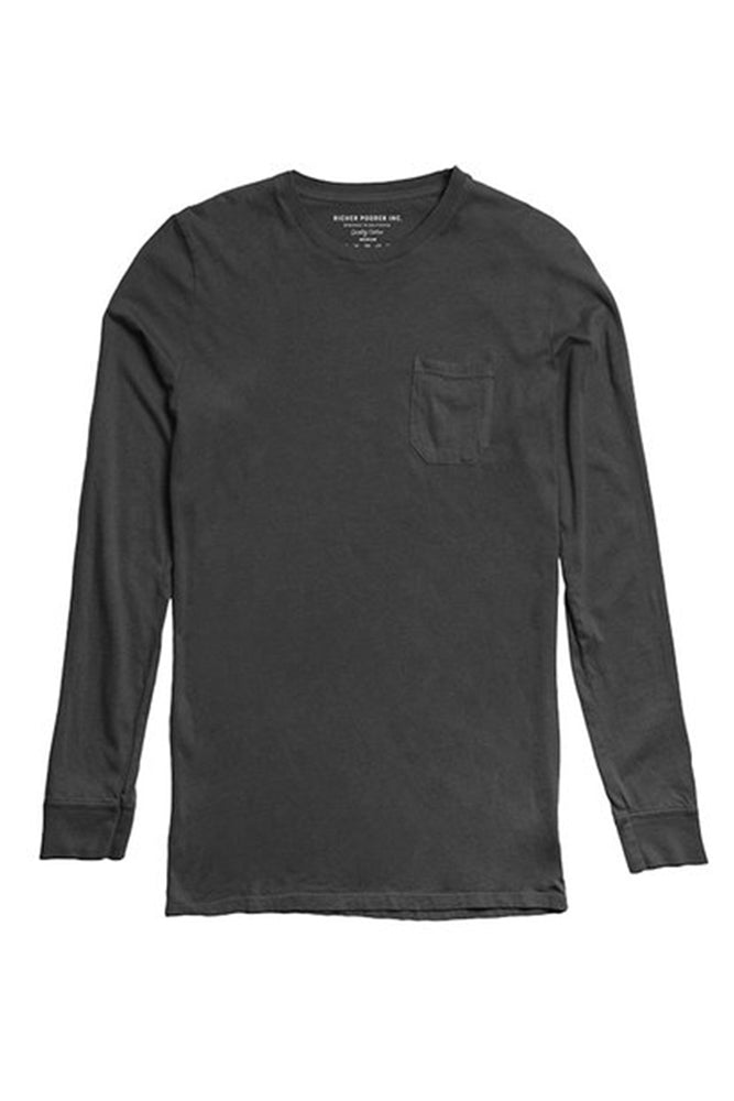 Richer Poorer Charcoal Long Sleeve Pocket Tee