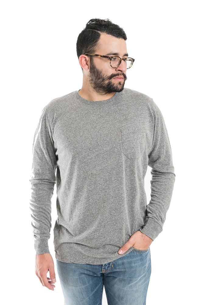 Richer Poorer Long Sleeve Pocket Tee - Heather Grey