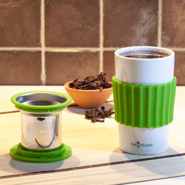 Single Cup Loose Leaf Tea Brewing System, 16oz Ceramic Mug with Tea Infuser, Lid, and Silicone Mug Sleeve