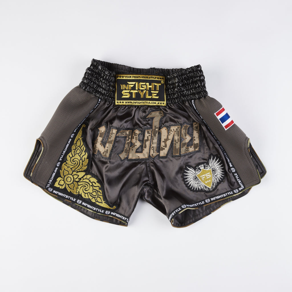 "InFightStyle ""Royal Thai"" Retro - Desert Assault - InFightStyle Muay Thai Gear, Retro Shorts"