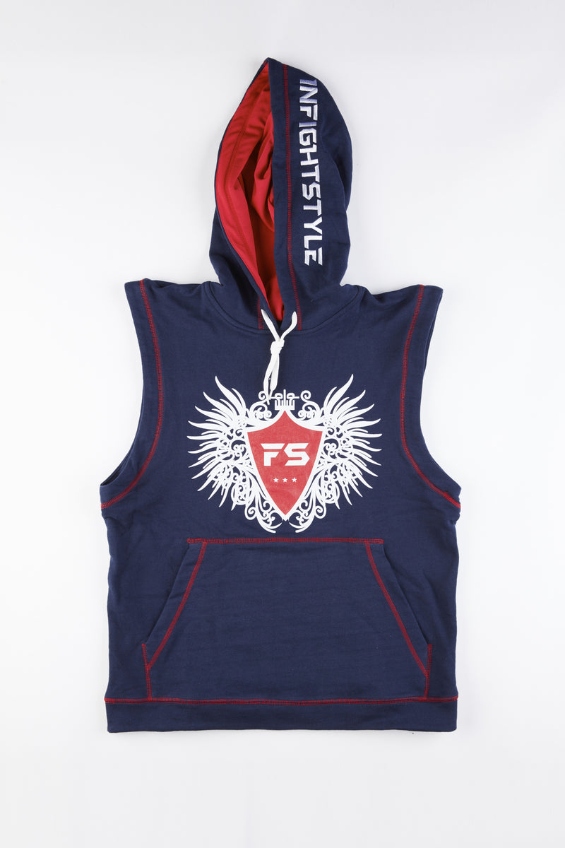 InFightStyle Sleeveless Hoodie - Navy Blue - InFightStyle Muay Thai Gear, Top
