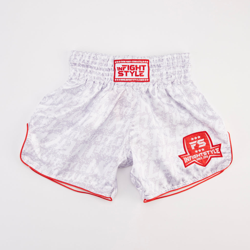 "InFightStyle ""Premo"" Retro Shorts - White Speckle - InFightStyle Muay Thai Gear, Retro Shorts"