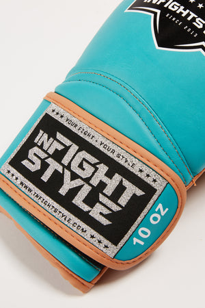 "InFightStyle ""Heritage"" Muay Thai Boxing Glove - Teal/Caramel - InFightStyle Muay Thai Gear, Boxing Gloves"