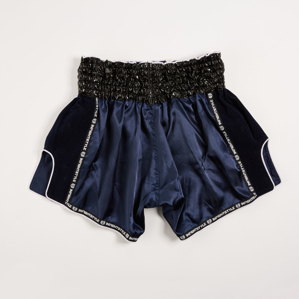 "InFightStyle ""ILLICIT"" Royal Thai Retro Shorts - Navy/White - InFightStyle Muay Thai Gear, Retro Shorts"