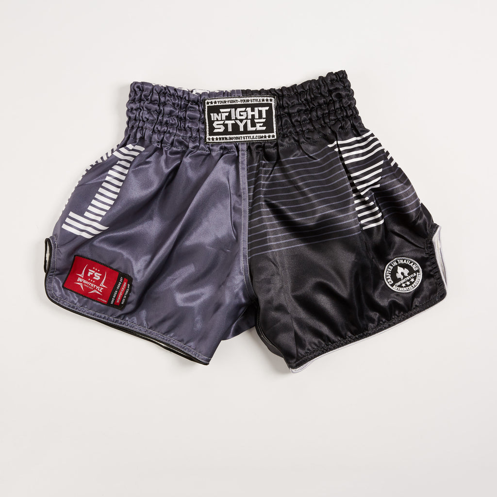 "InFightStyle ""Line Up"" Retro Shorts - Black/Grey - InFightStyle Muay Thai Gear, Retro Shorts"