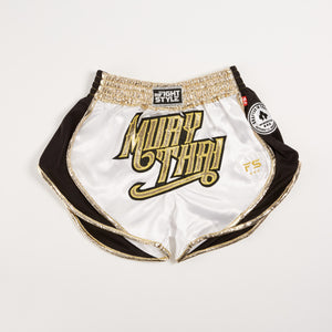 "InFightStyle ""Uncut"" Retro Short - White Gold - InFightStyle Muay Thai Gear, UNCUT"