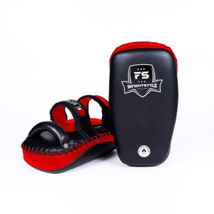 InFightStyle Curved Double Leather Kickpad - Black/Red