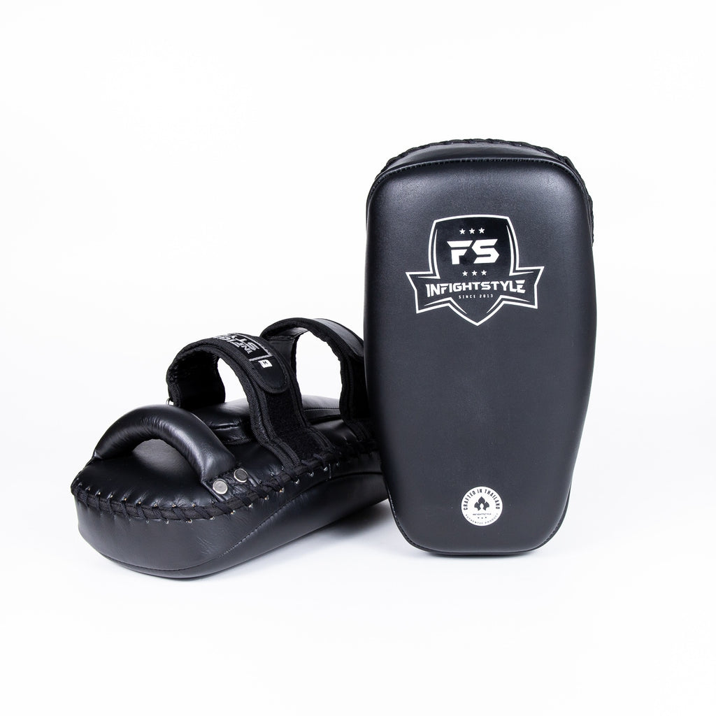 InFightStyle Curved Double Leather Kickpad - Black