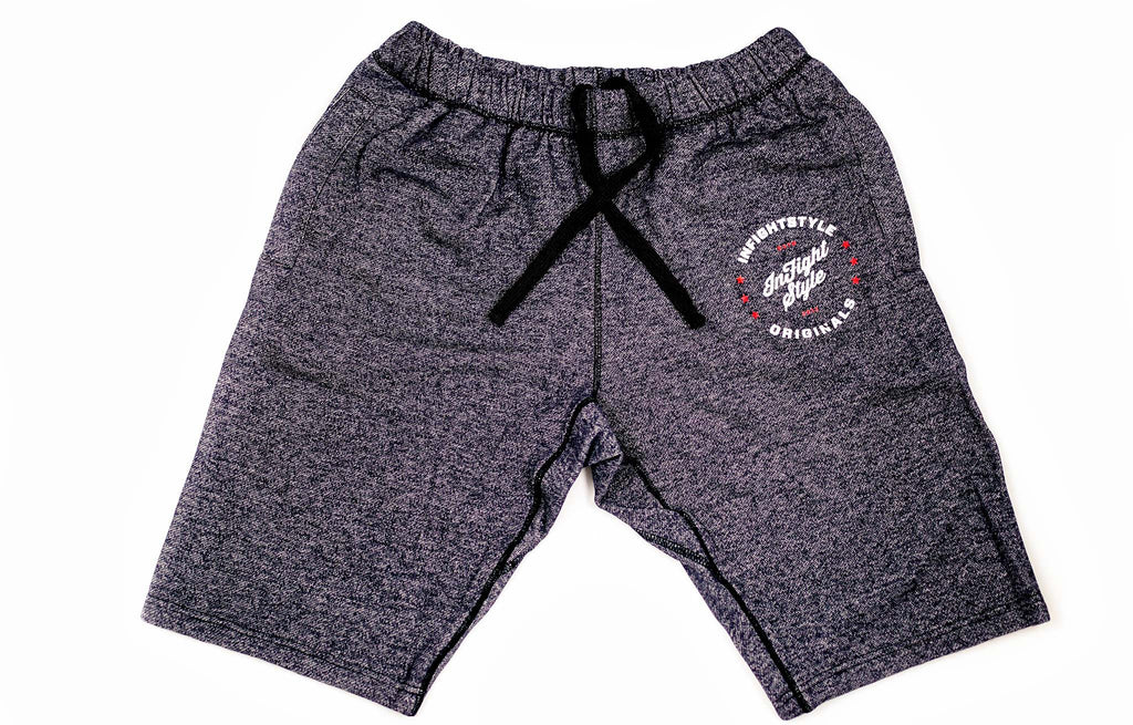 InFightStyle Originals Sweat Shorts - Topdry Blue - InFightStyle Muay Thai Gear, Retro Shorts