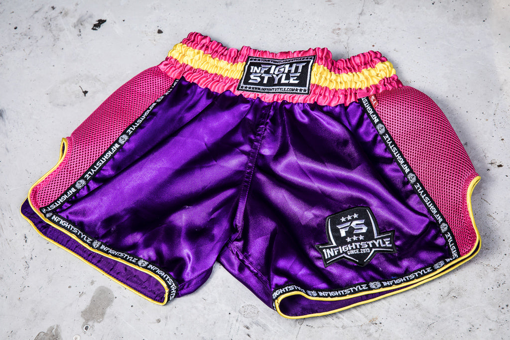 InFightStyle Starter Series - Purple/Pink - InFightStyle Muay Thai Gear, Retro Shorts