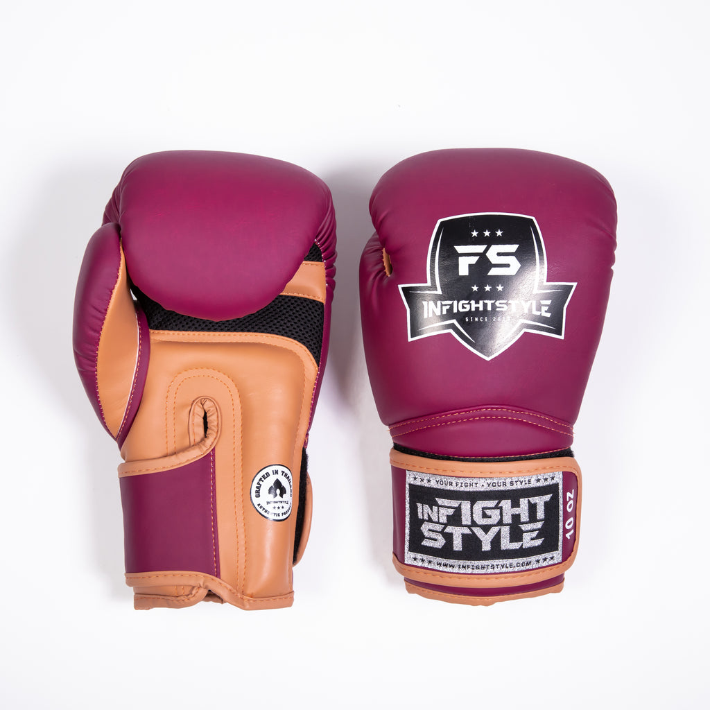 "InFightStyle ""Heritage"" Muay Thai Boxing Glove - Plum/Caramel - InFightStyle Muay Thai Gear, Boxing Gloves"