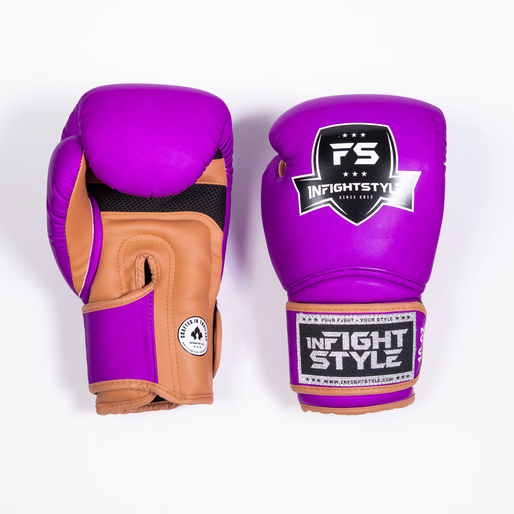 "InFightStyle ""Heritage"" Muay Thai Boxing Glove - Purple/Caramel - InFightStyle Muay Thai Gear, Boxing Gloves"