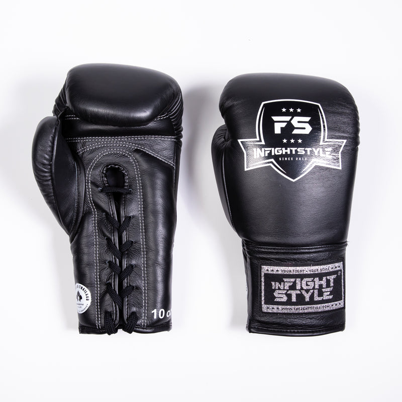 InFightStyle Lace Up Boxing Gloves - Black - InFightStyle Muay Thai Gear, Boxing Gloves