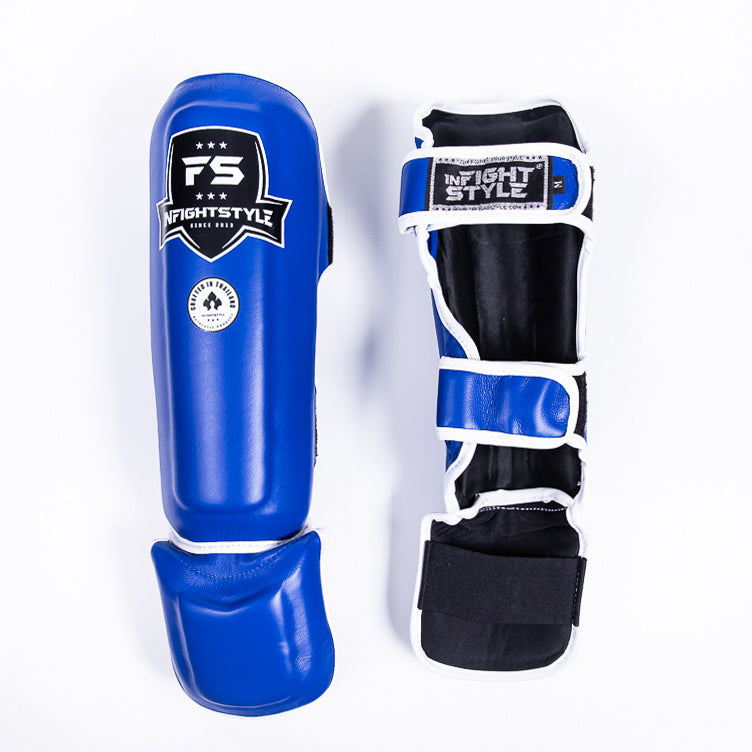 "InFightStyle ""Pro Legacy"" Shinguards - Blue - InFightStyle Muay Thai Gear, Shin Guards"