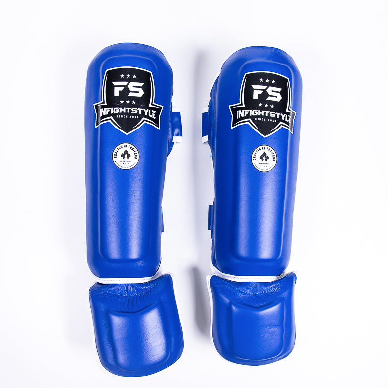 "InFightStyle ""Pro Legacy"" Shinguards - Blue (Final Sale) - InFightStyle Muay Thai Gear, Shin Guards"