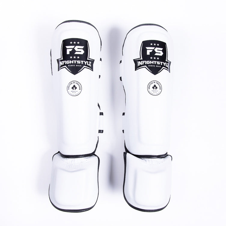 "InFightStyle ""Pro Legacy"" Shinguards - White - InFightStyle Muay Thai Gear, Shin Guards"