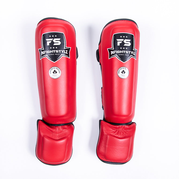 "InFightStyle ""Pro Legacy"" Shinguards - Red - InFightStyle Muay Thai Gear, Shin Guards"