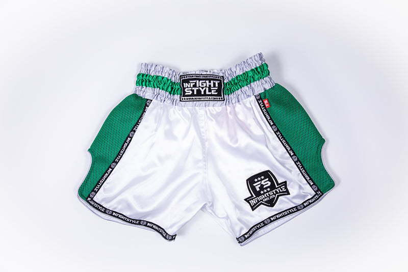 InFightStyle Starter Series - White/Green - InFightStyle Muay Thai Gear, Retro Shorts