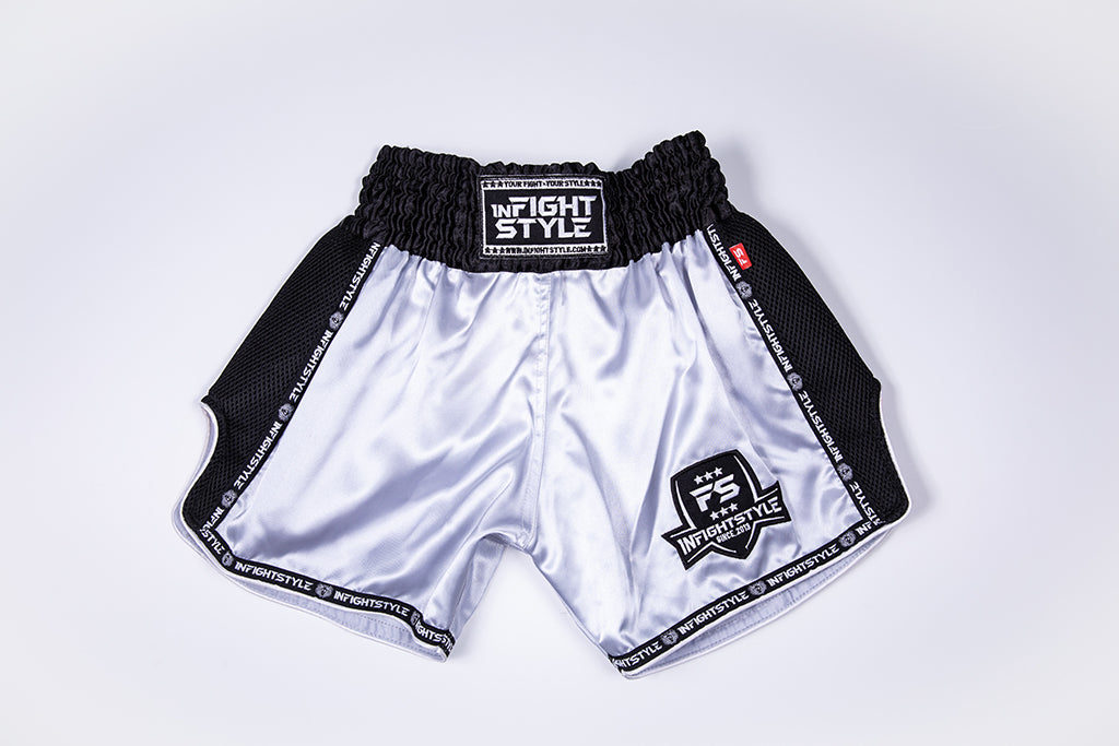 InFightStyle Starter Series - Grey/Black - InFightStyle Muay Thai Gear, Retro Shorts