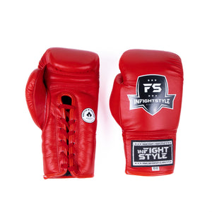 InFightStyle Lace Up Boxing Gloves - Red
