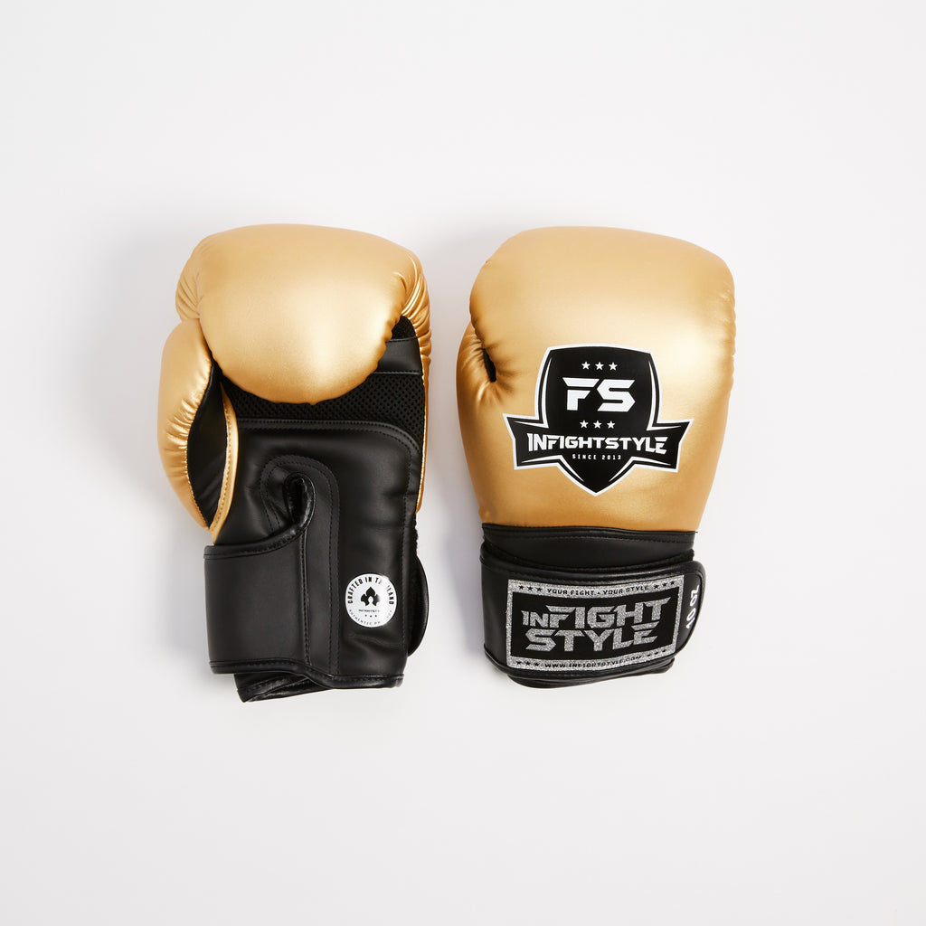 "InFightStyle ""Enfused"" Muay Thai Boxing Glove - Gold - InFightStyle Muay Thai Gear, Boxing Gloves"
