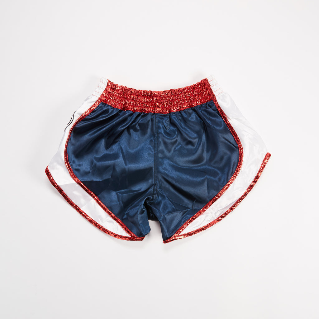 "InFightStyle ""Uncut"" Retro Short - Navy/Red - InFightStyle Muay Thai Gear, UNCUT"
