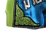 "InFightStyle ""Royal Thai"" Retro - Light Blue/Neon Green - InFightStyle Muay Thai Gear, Retro Shorts"