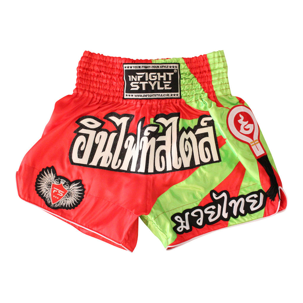 "InFightStyle ""Star Power"" Traditional Muay Thai Shorts - Red/Neon Green - InFightStyle Muay Thai Gear, Traditional Muay Thai Shorts"
