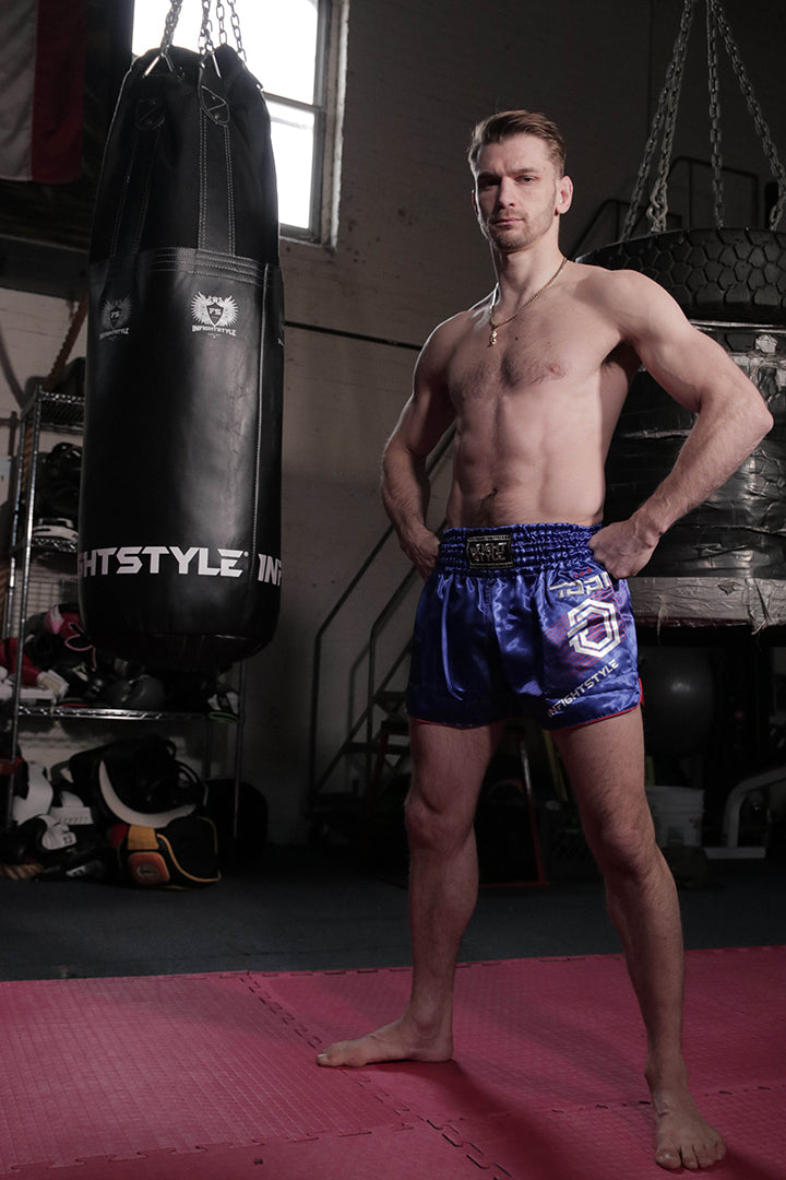 "Official ""Ognjen Topic"" Signature Series Retro Shorts - Blue - InFightStyle Muay Thai Gear, Retro Shorts"