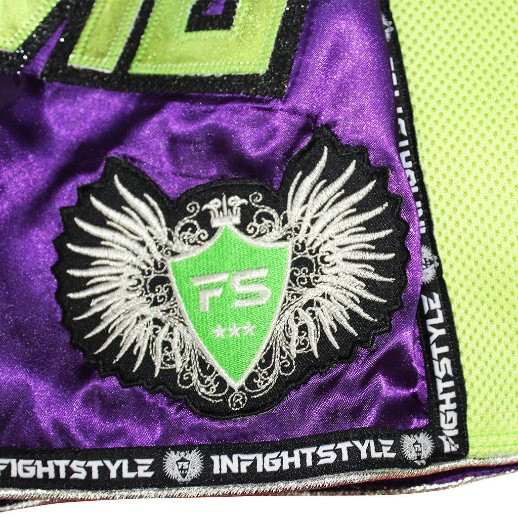"InFightStyle ""Royal Thai"" Retro - Purple/Neon Green - InFightStyle Muay Thai Gear, Retro Shorts"